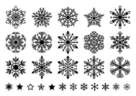Set of flat snowflakes in line art style