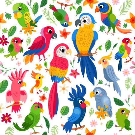 Zoo Jungle pattern. A tropical bird background.