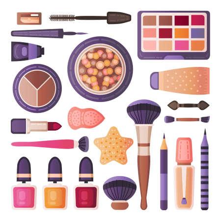 Face make up tools set. Decorative cosmetics  イラスト・ベクター素材