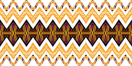 Tribal ethnic Ikat folklore pattern. African folk  イラスト・ベクター素材