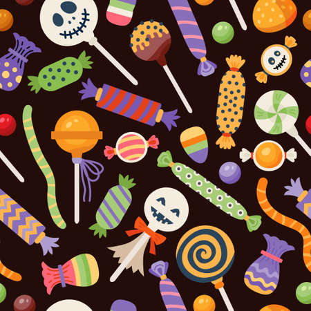 Halloween seamless sweet pattern with cute candies