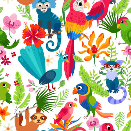 Zoo Jungle pattern. A tropical bird background.