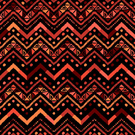 Abstract vector colorful coral zigzag line pattern