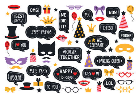 Party photo booth props. New year eve party. Photobooth vector set for masquerade. Black and gold mask, mustache, hat, glasses, bow tie, kiss, beard.
