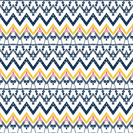 Tribal ethnic Ikat folklore pattern. African abstract ornament. Vector Fashion print. Seamless pattern tile. Retro chevron vector background. Geometric folk decorative texture