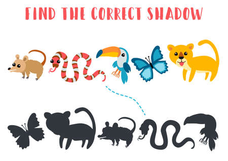 Find the correct shadow. Educational matching game for children. Kids learning game. Preschool worksheet activity. Cartoon animals possum, snake, toucan, butterfly, puma Vektorové ilustrace