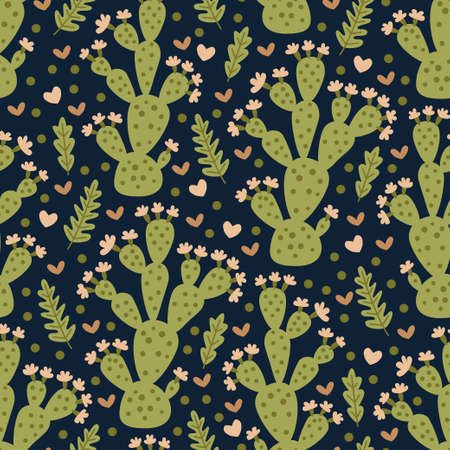 Vector seamless pattern with different cactus. Bright repeated texture with green cacti. Natural hand drawing background with desert plants. Ideal for posters, children room decoration, etc