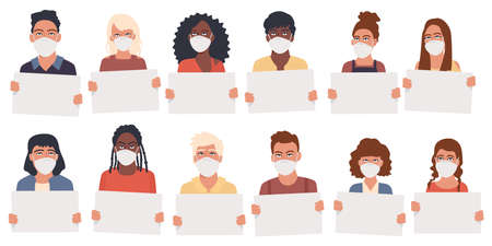 Men and women of different nationalities hold in their hands sheets of paper with a place for text. Students with clean placards. Vector illustration. Group of people demonstrating empty banners Ilustracja