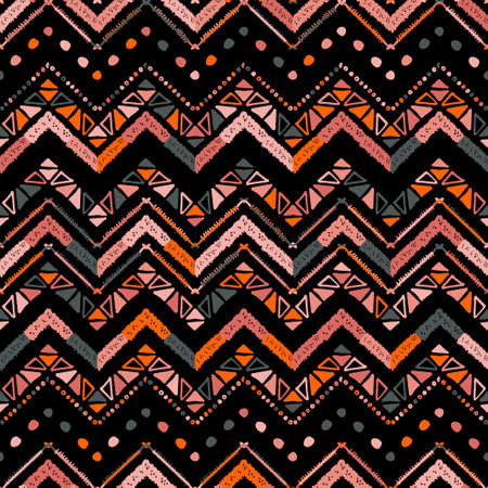 Abstract colorful coral zigzag pattern for cover design. Retro chevron vector background. Geometric decorative seamless. Living Coral 2019 Color of the Year.