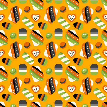 Happy Halloween sweets pattern. Seamless background with trick or treat candies. Vector illustration. Many types spooky dessert.