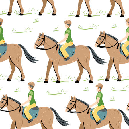 Rider horse seamless pattern. Animal backdrop for textile, wrapping paper, greeting cards or posters. Retro vector illustration