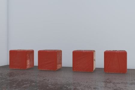 reflektion: room with red cube chairs