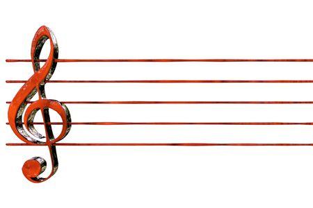 赤い音部記号譜表 3 D レンダリング