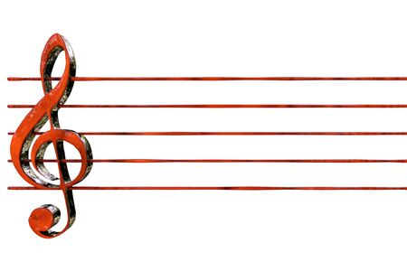 red clef with staves 3D rendering Stock Photo