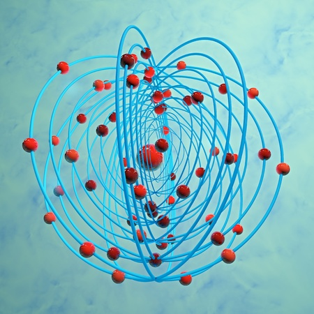 Atom with electrons - 3d rendered illustration Stock Photo