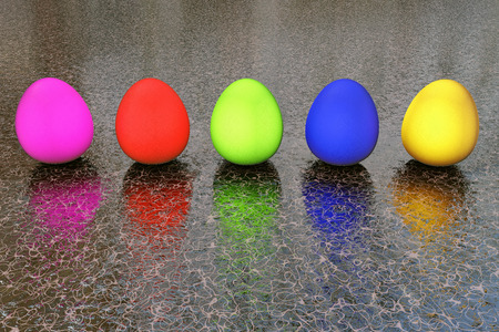 laying forward: Easter eggs - 3d rendered illustration