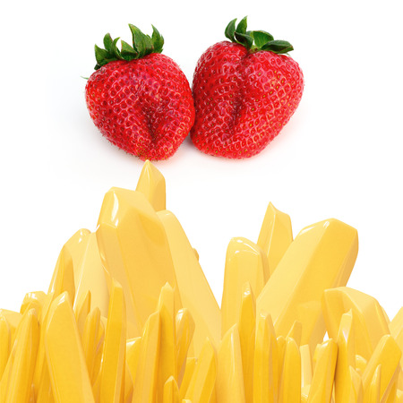 ascorbic: Strawberries with vitamine c illustration
