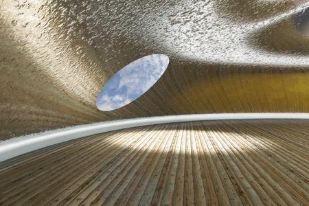 Reflective Corridor with wood floor - 3d rendered illustration