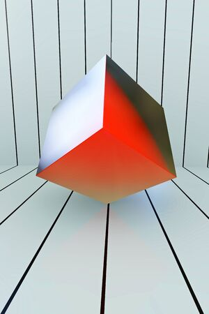 Red Box geometric shape - 3d rendered illustration