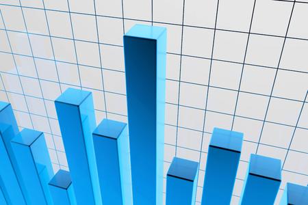 青い金融 stat 背景グラフィックの 3 d レンダリングされた図 写真素材