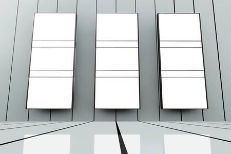 Room with big empty frames - 3D rendered illustration