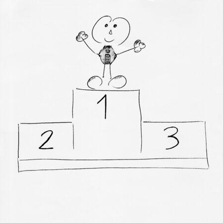 Stick figure winner on a winners pedestal - Drawing