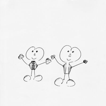 People friendship concept with Stick figures - Drawing 写真素材
