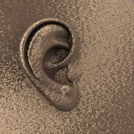 Copper metal ear on flate surface - 3d Illustration Stock Photo