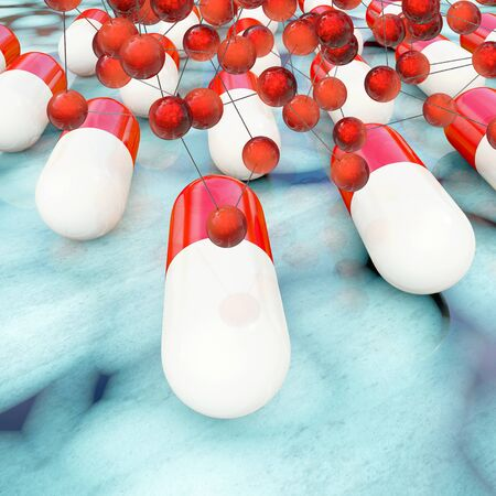 Pills with active ingredient concept - 3d rendered illustration Stock Photo