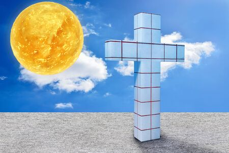 Blue Cross and the sun -  3d rendered illustration
