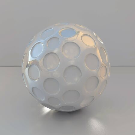 Silver material  ball with holes - 3d illustration