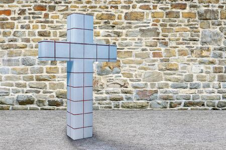 Cross and stone wall - 3d rendered illustration Stock Photo