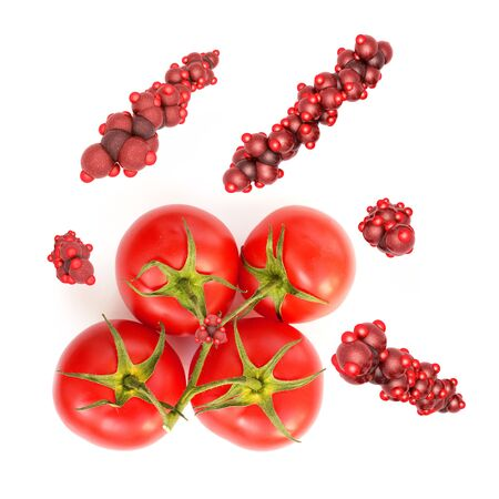 Tomaten und Lycopin Montage - Photo with 3d rendered illustration