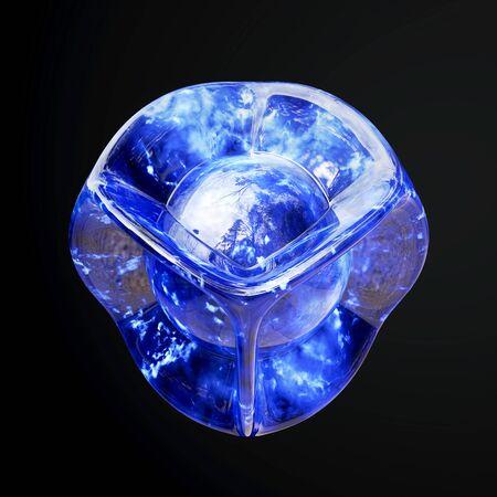 Blue facet crystal on a black background