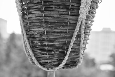 Hanging Flower basket close up with cords