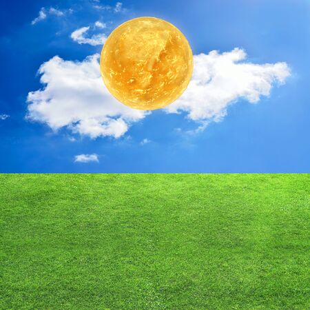 Sun close up - grass and blue sky  - 3d rendered illustration