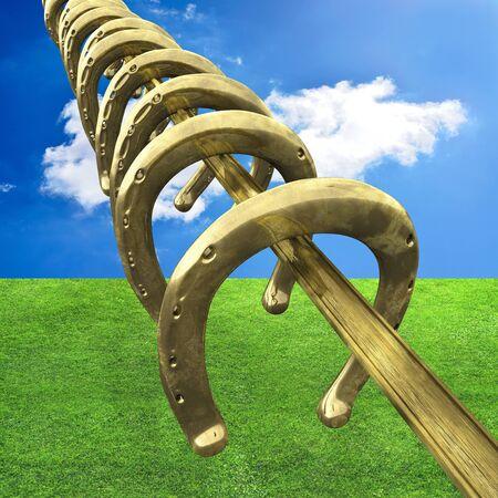 Horseshoes on rod with sky background - 3d illustration