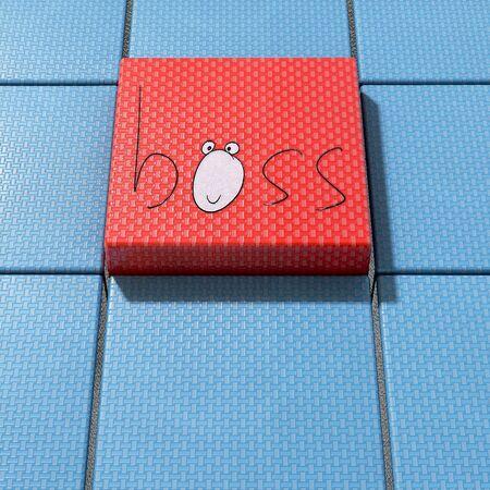 Boss concept illustration on red stage - 3d rendered illustration
