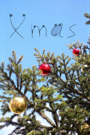 X mas concept illustration with Gold and red christmas balls on branch