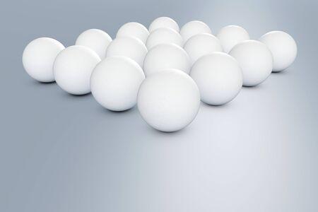 Golf balls on blue floor - 3D illustration
