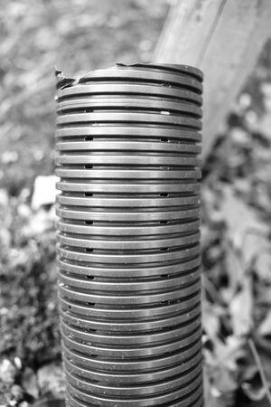 Water plastic pipe -  broken, dirty and leaking