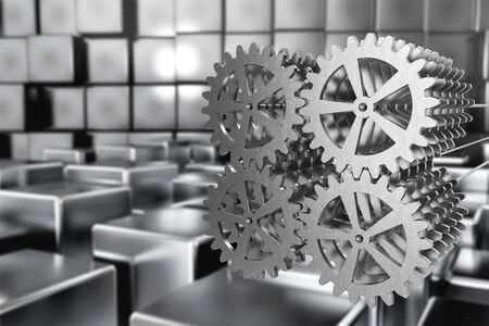 Reflective Gears in fabric 3D illustration