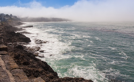 Depoe Bay, Oregon is the home of the famous spouting horns. Here the fog is coming in although we were occasionally able to catch the spouts of the migratory  Gray whales. photo