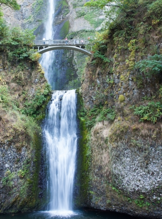Beautiful Multnomah Falls in Oregon near the border with Washington. photo
