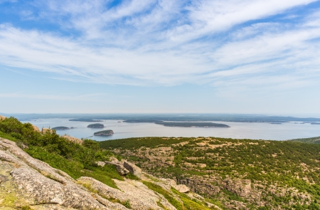 This image shows the view towards Bar Harbor from Cadillac Mountain in Acadia National Park  photo