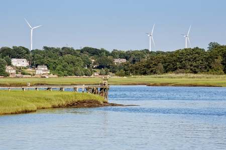 Three windmills stand over the beautiful Cape Ann area in Massachusetts. photo