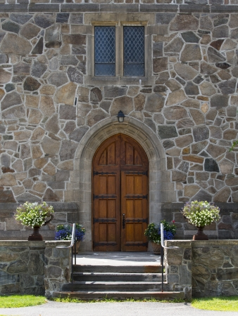 beautiful church entrance to peaceful sanctuary. photo
