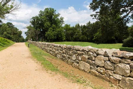 american field service: This is the sunken road and a re-creation of the rock wall used by the confederates to defeat the Union Army in 1862. Stock Photo