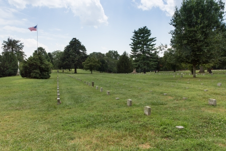 american field service: This is the burial ground for Union soldiers that fell in the several Civil War battles in the area. There is a separate Confederate Cemetary. Stock Photo