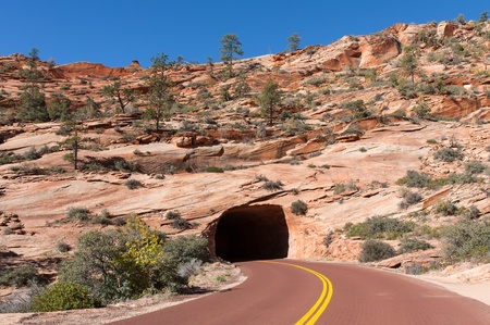 This is one of two tunnels on the drive to Zion Canyon from the East gate entrance. photo